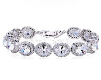 Gorgeous Luxury Bridal Bracelet Zircon Rhodium Plated/bridesmaid jewelry /mother of the bride/ mother of the groom