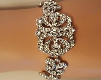 Vintage inspried Bridal Bracelet White Gold Plated Austrian Crystals