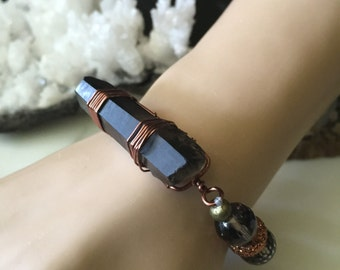 Smokey Quartz Crystal Point Stretch Bracelet - Smokey Quartz Gemstone Stretch Bracelet - Raw Crystal Bracelet