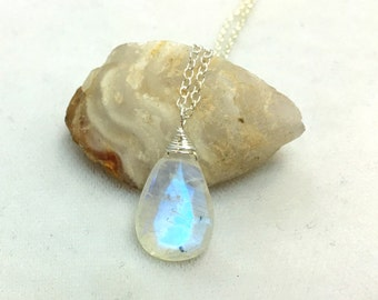 Flashy blue rainbow moonstone necklace  Silver and moonstone necklace  Moonstone Jewelry  Handmade Jewelry