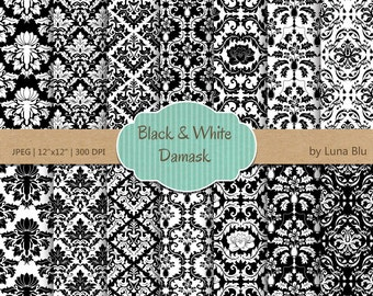 """Black and White Damask Digital Paper: """"Black and White Damasks"""" scrapbook paper, damask patterns, black and white digital paper"""