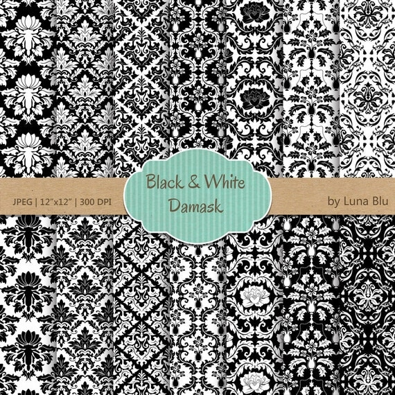 Black and White Damask Digital Paper: Black and White