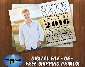 Graduation Party Invitation #23-- Custom Invitations -- Digital File OR Free Shipping Prints