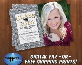 Graduation Party Invitation #18 -- Custom Invitations -- Digital File OR Free Shipping Prints
