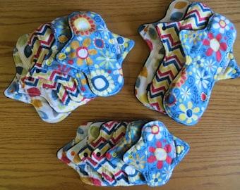 Complete Minky Bamboo Pad Set, Cloth Pad Set, Cloth Starter Set, Minky Pad Set, Reusable Pads, Menstrual Pads
