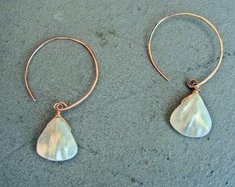 Freshwater Pearl Earrings on 14k Gold Fill Hoops-Handmade