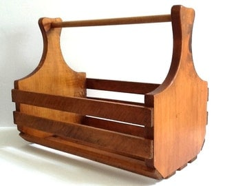 Mid Century Large Wood Slat Carrier, Wooden Garden Tote Or Tool Box, Wood  Carrier