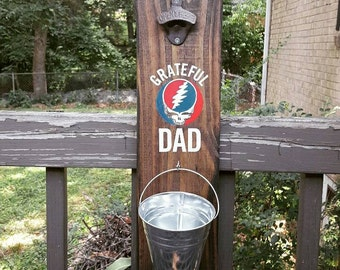 Grateful Dad Bottle Opener Solid Wood Grateful Dead Steal Your Face Wallhung Bottle Opener with Bucket Cap Catcher Grateful Dead Barware