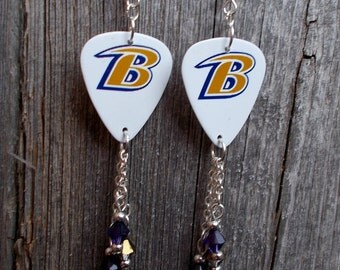 Baltimore Ravens Guitar Picks with Purple and Gold Crystals