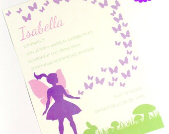 FAIRY, BUTTERFLY, BIRTHDAY Invitation, Printable, Personalized, Fairy Garden, Fairy party, purple, mauve, green, forest fairy, lilac, faries