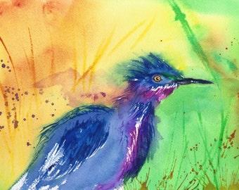 Green Heron Matted Loose Watercolor