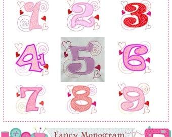 Valentine Numbers applique,Valentine Birthday applique,Valentine's day,Birthday numbers design,Girl applique.-02