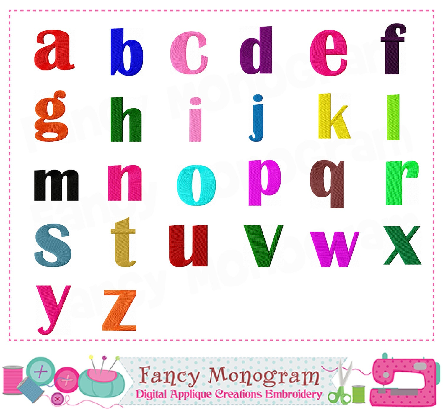 Lowercase Letters Embroideryletters on Alphabet Flash Cards