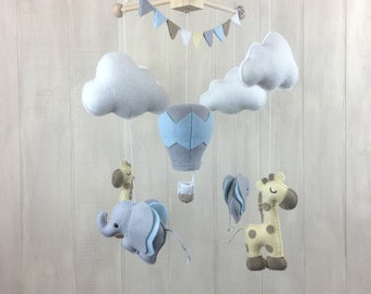 Elephant baby mobile - giraffe mobile - baby mobile - baby crib mobile - nursery mobile - elephants and giraffes - hot air balloon mobile