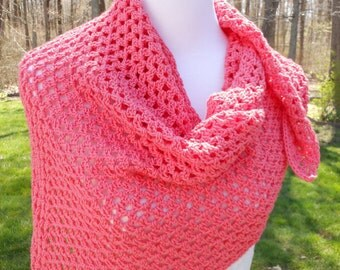 crochet shawl, handmade ladies triangle wrap accessory, gift for her, gifts under 25, coral color angle kerchief