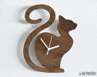 Cat Waiting - Wooden Wall Clock