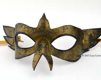 Gold and Black Bird Mask, Mardi Gras Mask, Masquerade Bird, Handmade Leather, Aged Gold Mask, Masked Ball, Ren Faire