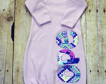 Personalized Newborn Gown - Girl Infant Gown Name - Applique Baby Girl Gown - Onesie - Girl - Light Purple - Aqua - Baby Shower Gift