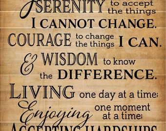 God Grant Me Serenity Prayer Inspirational Wood Sign Canvas Wall Art Canvas Banner - Home, Office Decor