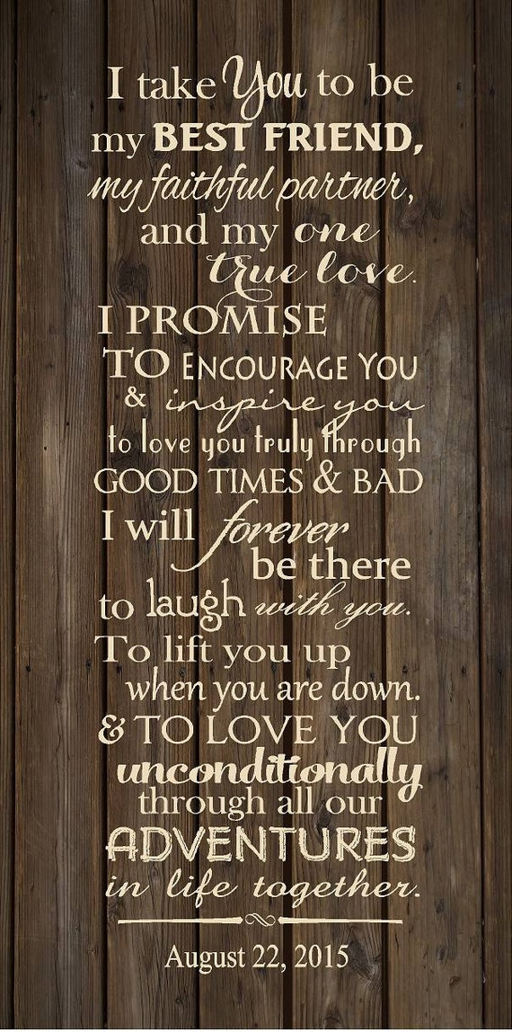 Custom Wedding Vows Wood Sign Canvas Art Personalized With