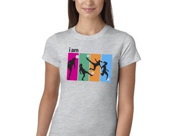 I Am Soccer Grey Juniors Longer Length T-Shirt