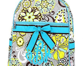 "Personalized Quilted Paisley Print Backpack with Bow - Personalized Large 15"" Multicolor with Turquoise & Brown Accents - QBF2746-TQ"