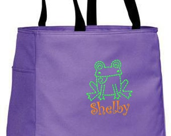 Personalized Tote Bag Embroidered Tote Bag Custom Tote Bag - Sports - Frog - B0750