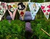 SALE Alice in Wonderland Decorations Set #2 - Party Bunting - Digital Download 5 Pieces - Colorful Tea Party Garden Party Birthday Whimsy