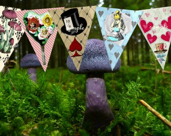 SALE  Alice in Wonderland Decorations   Party  Bunting  alice in wonderland party supplies   Tea Party  Garden Party  Birthday  Printables