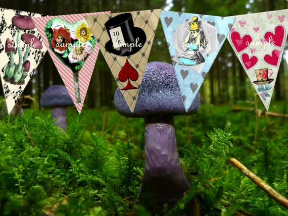 Alice in wonderland decorations party bunting alice in for Alice in wonderland tea party decoration ideas
