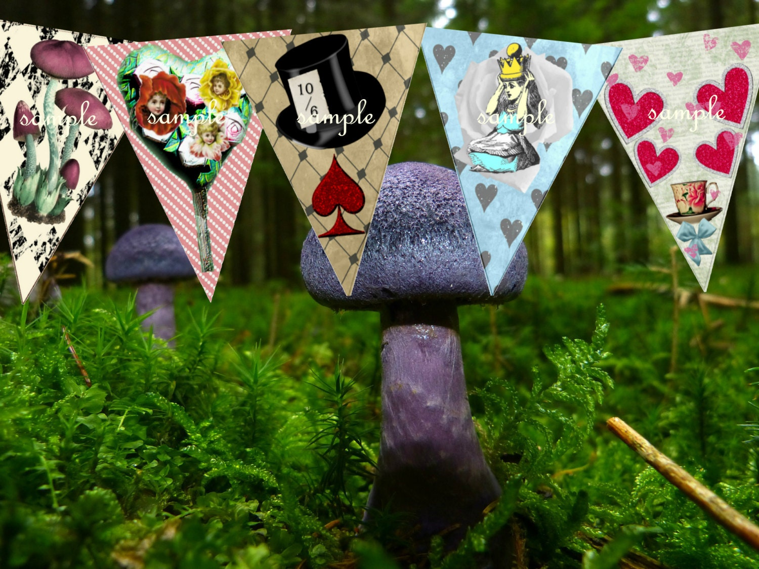 Alice in wonderland decorations party bunting alice in - Alice in the wonderland party decorations ...