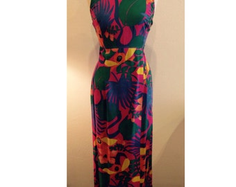 Tropical print cotton maxi dress with cute keyhole detail in the back | 70's floor length dress | size Large