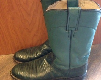 Men's green lizard Justin Cowboy boots | size 7B