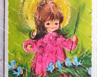 Vintage Christmas Card - Mod Pink Angel and Birds on Green - Used Hallmark
