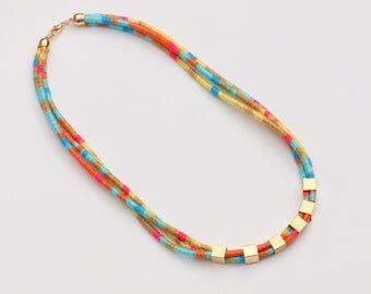 Colorful Multi Strand Cotton Necklace, Summer Necklace, Mixed Media Necklace, Multi Layer Rope Necklace, Boho Statement Necklace