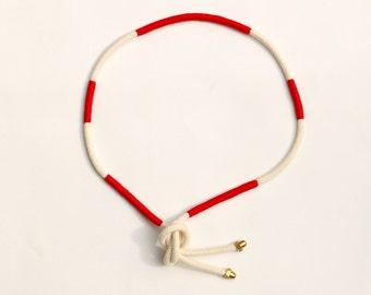 Rope Belt, Cotton Belt, Textile Belt Red White, Nautical Belt, Modern Cord Belt, Hip Accessory, Waist Accessory, Fabric Belt, Casual Belt