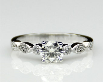 0.5ct Esdomera Round Moissanite Vintage Accents 14k White Gold Engagament Ring (CFR0259-ESMS0.5CT)