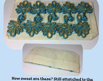 Retro SATIN ASIAN Style Button Closures Blue and Gold
