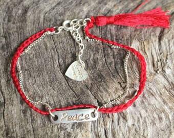 Peace charm friendship Bracelet - Silver over Brass dot chain and charm - Braided bracelet - Bridesmaid Jewelry - Boho Jewelry