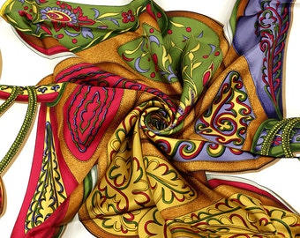 "HERMES SCARF Silk ""Festival"" by Henri d'Origny Vintage 90cm Carre 100% Auth"