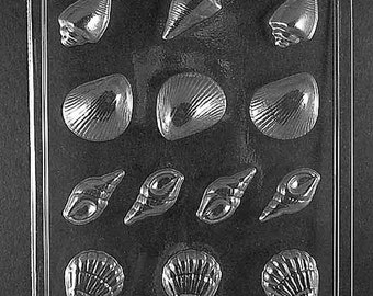 Seashell Assortment Chocolate Candy Mold with Exclusive FlavorTools Copyrighted Chocolate Molding Instructions N061