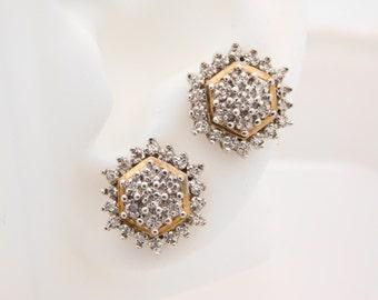 0.50 Carat T.W. Round Cut Diamond Cluster Earrings 10K
