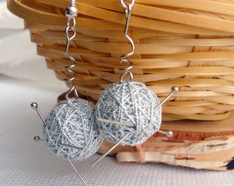 "Earrings from Cotton Balls ""Talisman for Craftswomen"" - Handmade Cotton Jewelry"