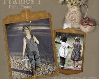 Vintage Frames 1, Digital Frames, Cardboard Frames, Scrapbook Frames, Frame Clipart, Brown Frames, Instant Download