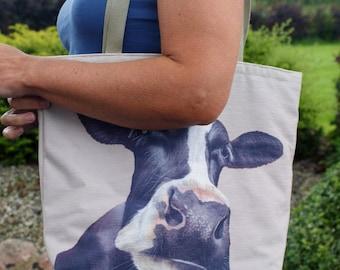 Friesian Cow Shoulder Tote Bag/Handbag By Artist Grace Scott