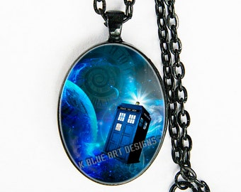 Doctor Who - Tardis - necklace - TimeLord, Whovian, The DR, gift