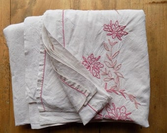 Pretty French vintage sheet, pink hand stitched trim, linen bed sheet.