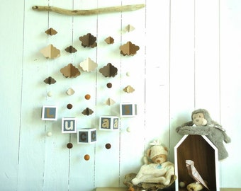 Mobile wall name to customize, bed children and babies clouds and driftwood, natural shades