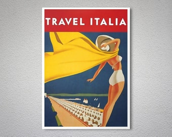 Travel Italia  Vintage Travel Poster - Poster Print, Sticker or Canvas Print