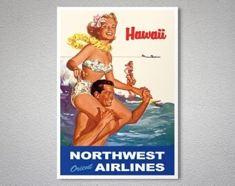 Hawaii  Vintage Travel Poster - Poster Print, Sticker or Canvas Print